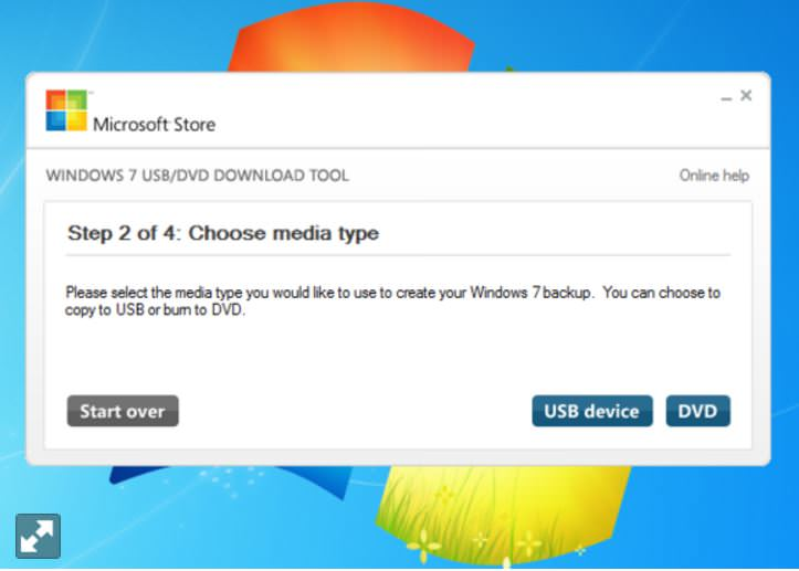 The Windows 7 USB/DVD download tool