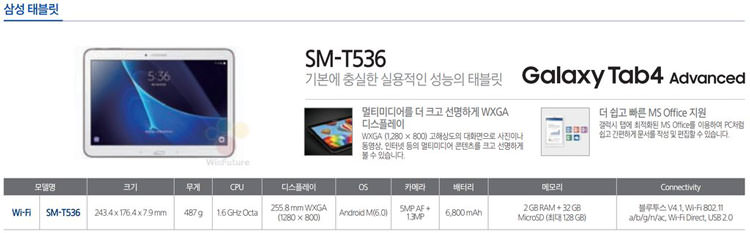 galaxy tab 4 advanced specs