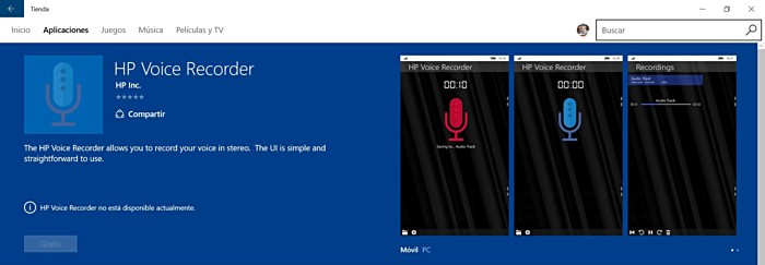 hp windows 10 mobile voice recorder