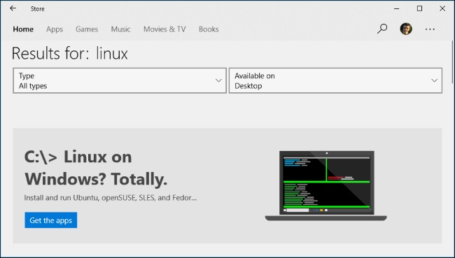 Linux Distributions on Microsoft Store