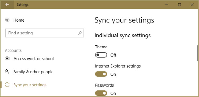 sync windows 10 theme