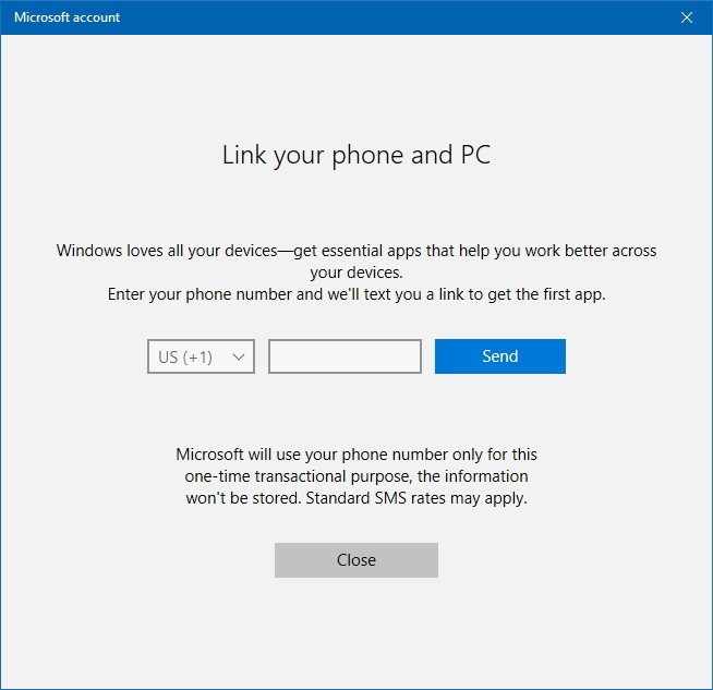 Link Phone PC Windows 10 16251