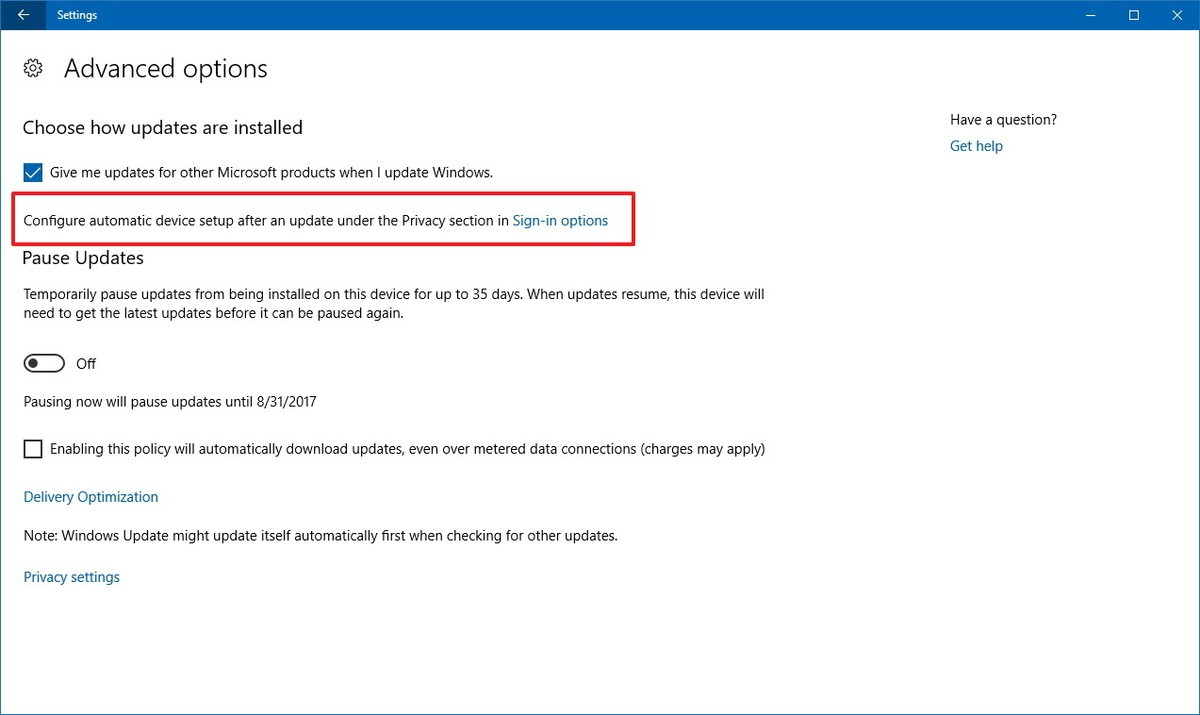 Window Update Advanced Options Windows-10