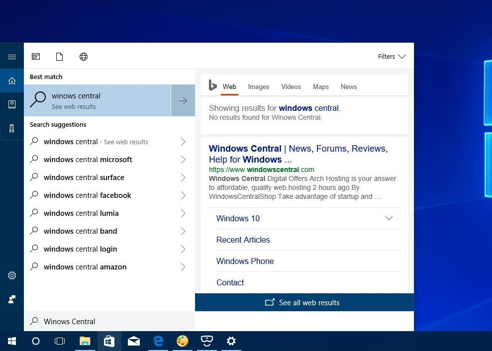 Cortana Search Preview