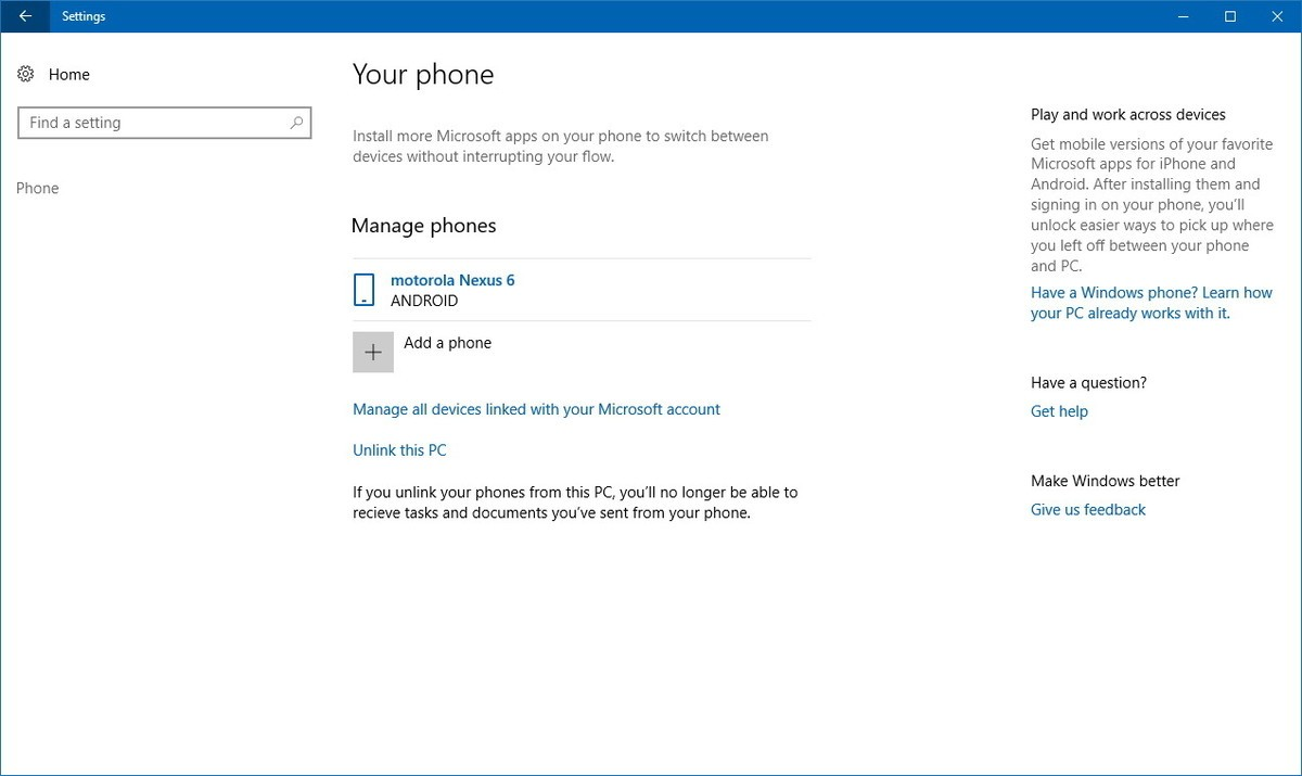 Manage Phone Windows 10 16251 5