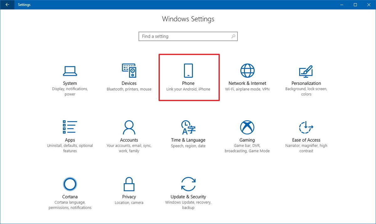 Phone Settings Windows 10