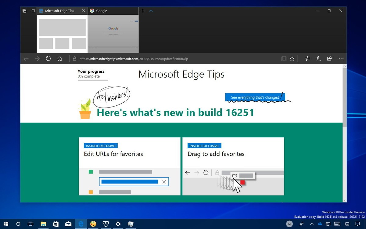 Microsoft Edge Build 16251