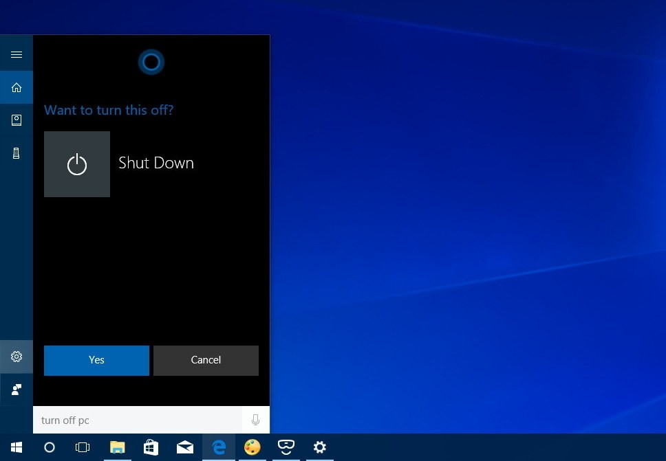 Shutdonw PC Cortana Command