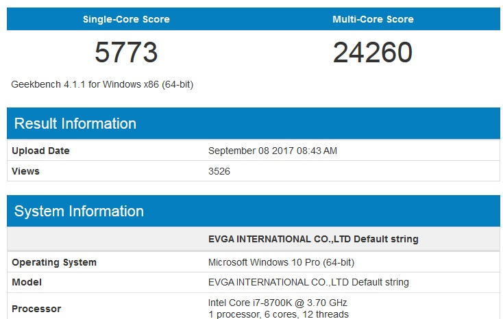 intel 8700K benchmark geekbench