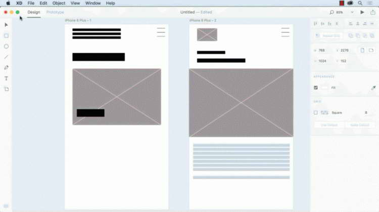 wireframes for a mobile app in Adobe XD