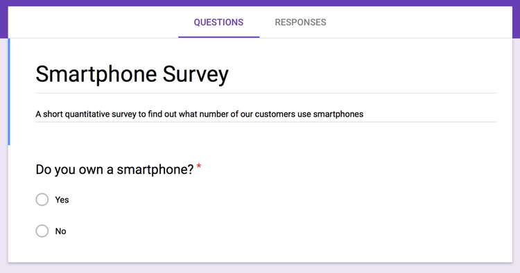 A survey created using Google Forms