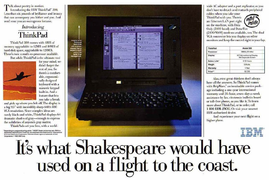ad for ThinkPad