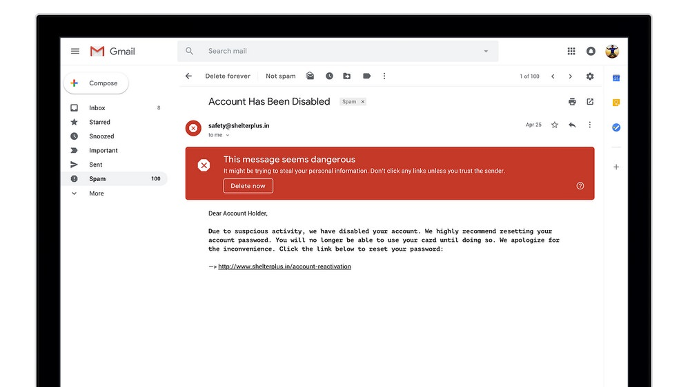 Gmail Consumer Warning