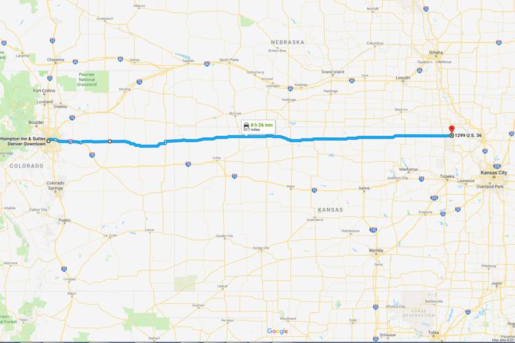 Tesla 515.7 Miles map rout
