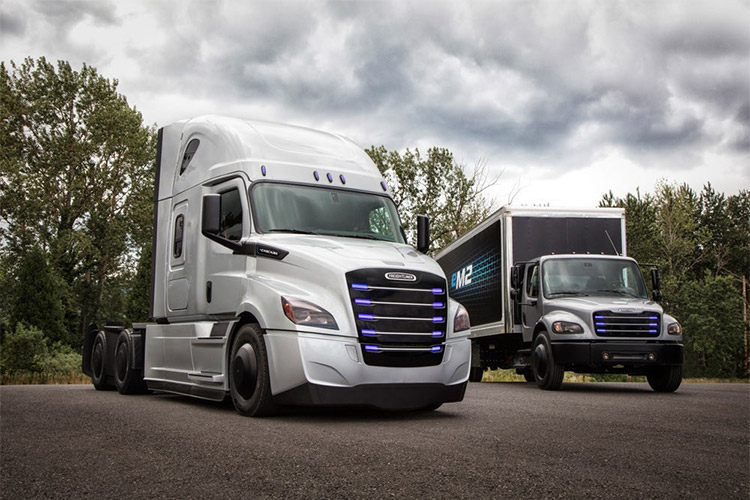 the Freightliner eCascadia and Freightliner eM2