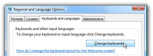 change keyboards or other input methods
