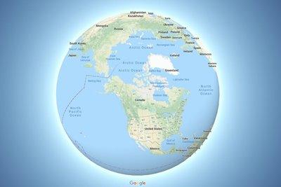 گوگل مپ اکنون نقشه جهان را در قالب کره زمین نشان میدهد