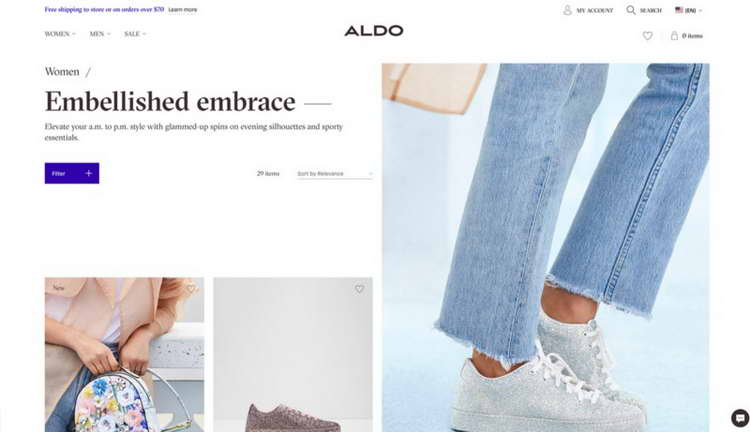 Aldo Shoes alt-tex of images and ARIA labels