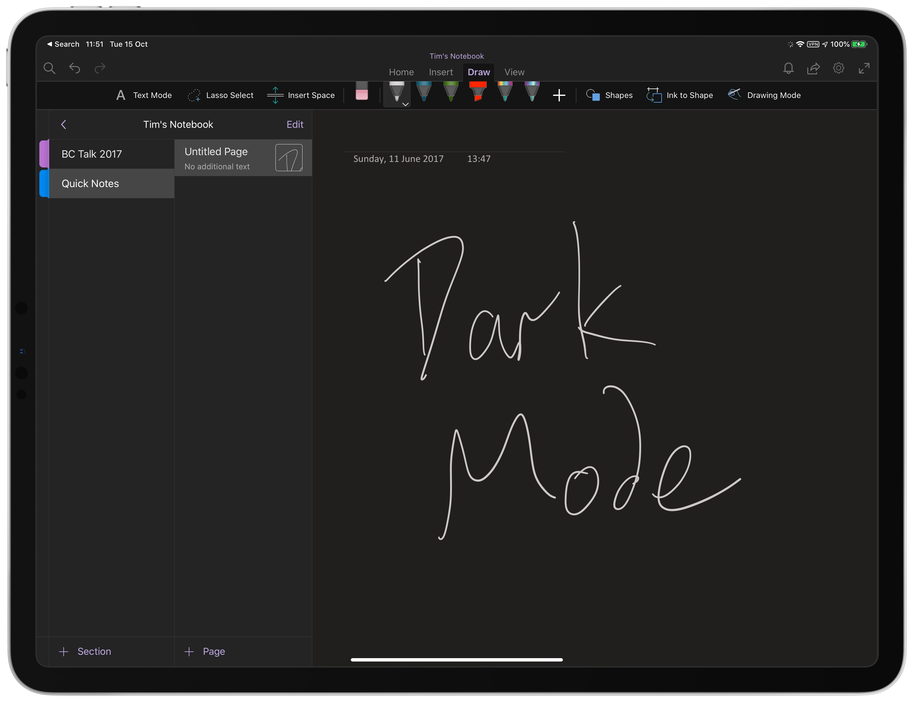 one note dark mode