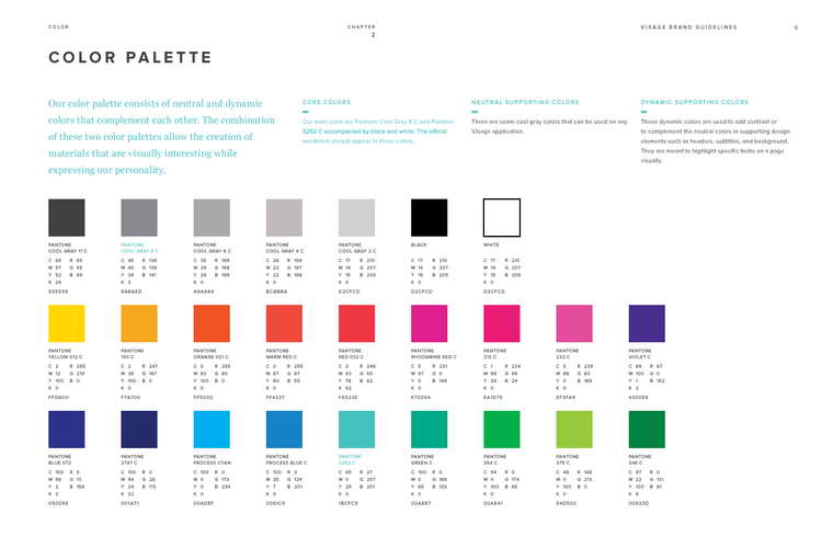 Color palettes from the Visage brand identity