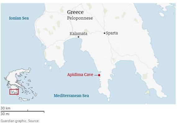 محل کشف فسیلهای دو جمجمه در غار آپیدیما در سواحل جنوب غربی پلوپونز در یونان