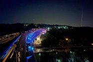 نمونه عکس دوربین اولتراواید آیفون ۱۲ پرو اپل در تاریکی - چراغانی پل طبیعت تهران
