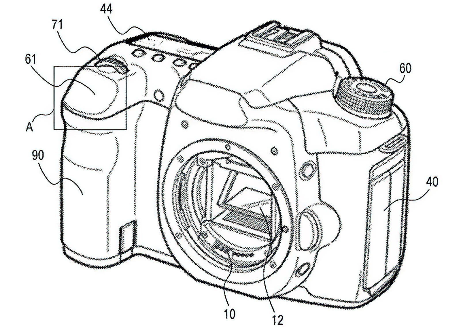Canon camera design with patent touchpad shutter patent