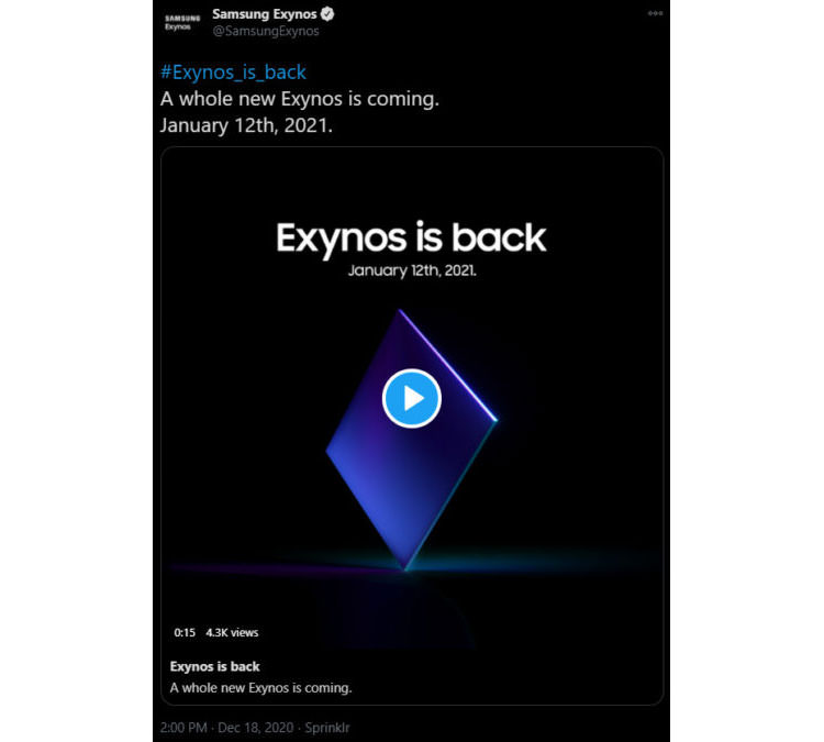 Unveiling teaser of Samsung Exynos 2100