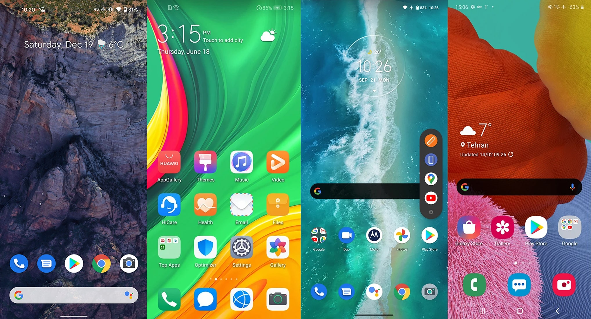 Compare pure Android with other user interfaces