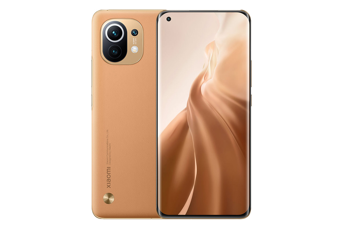 The back and front of the Xiaomi phone are 11 brown