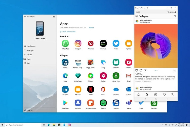 Your Phone Android application in Windows 10