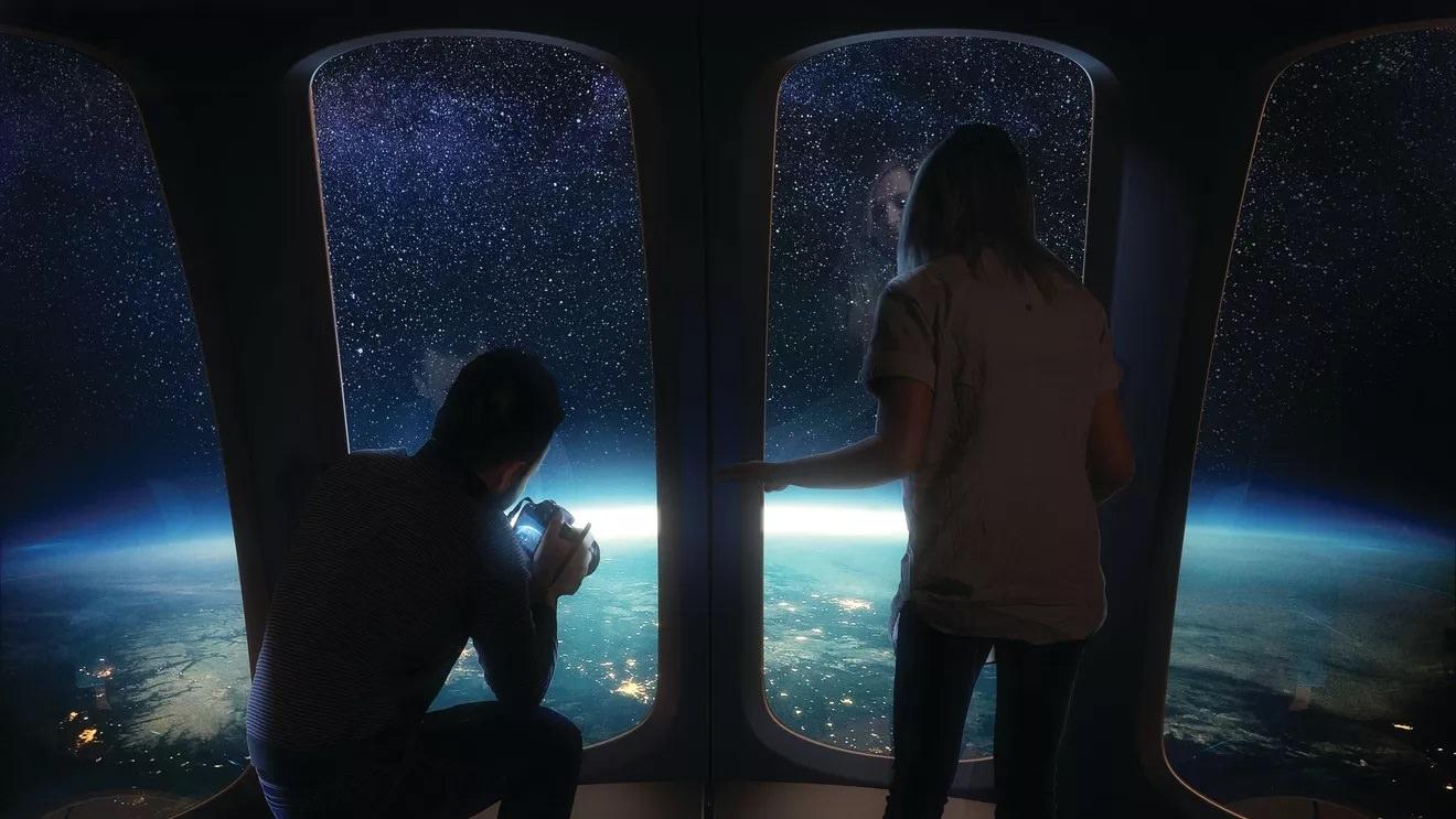 مسافران کپسول نپتون درحال تماشای نمای زمین