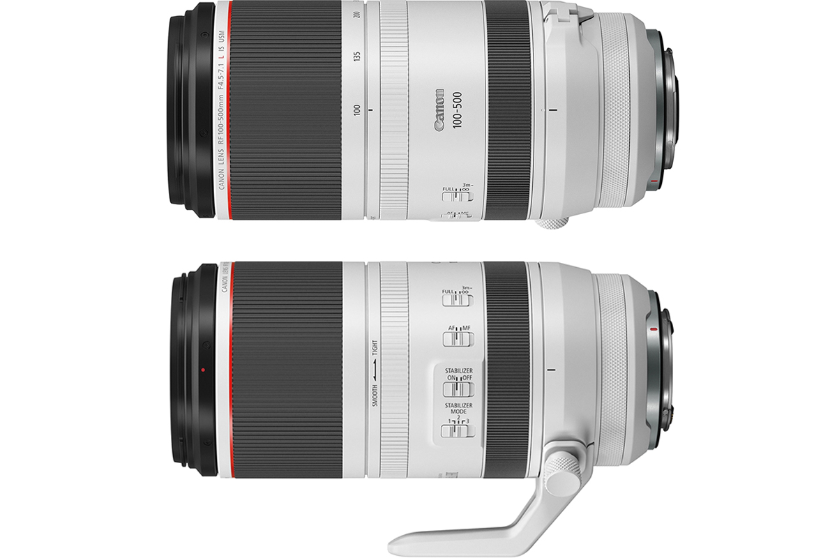 بخش کناری لنز Canon RF 100-500mm f/4-7.1L IS USM نمای نیم رخ