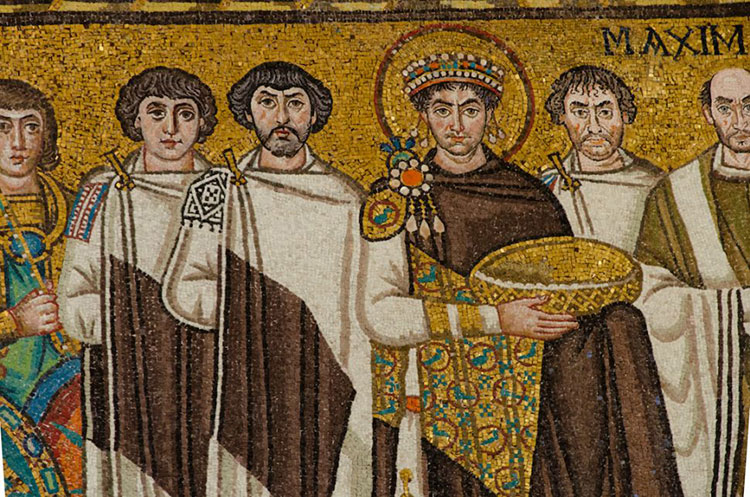 A mosaic of Emperor Justinian and his supporters