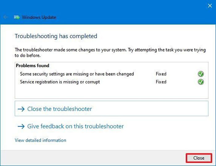 close troubleshooter