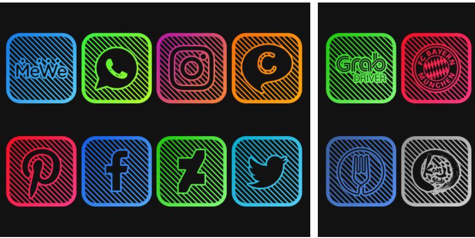 اپلیکیشن Lines Square - Neon icon Pack