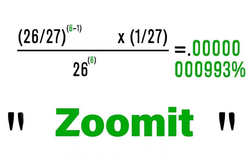 فرمول احتمال فراوانی تایپ تصادفی کلمه zoomit