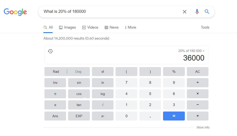 ترفندهای سرچ گوگل - calculator