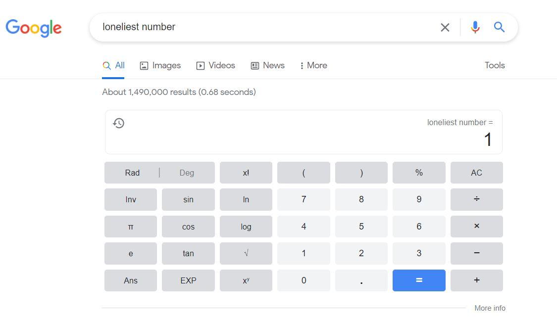 ترفندهای سرچ گوگل - تنهاترین عدد