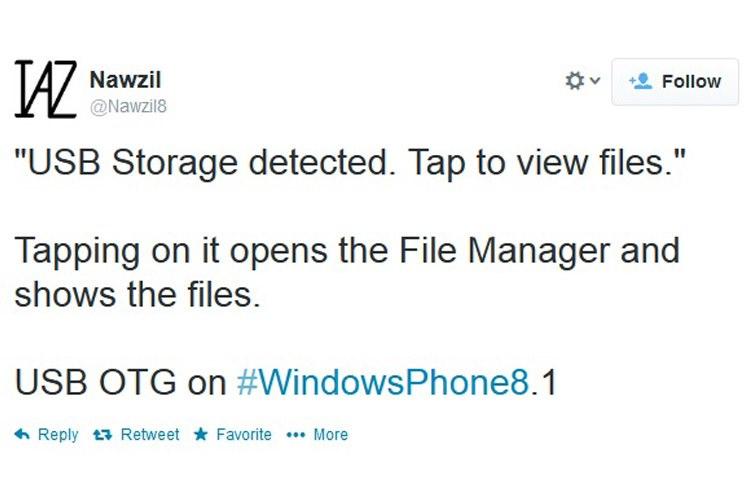 شاید ویندوزفون 8.1 از قابلیت USB OTG پشتیبانی نماید