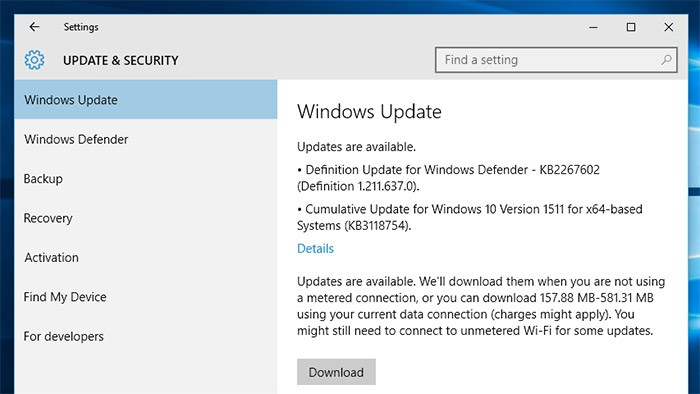 windows update on metered connection a074f