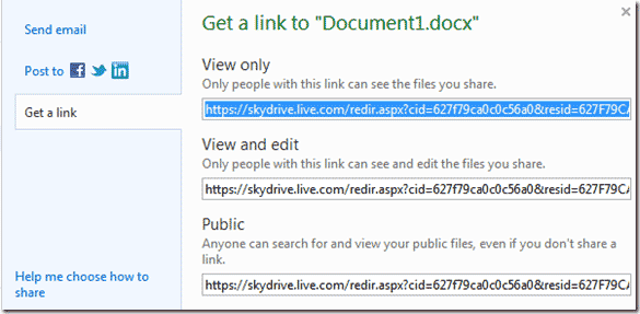 Skydrive link to file