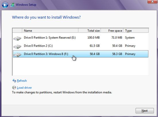 Install to new partition