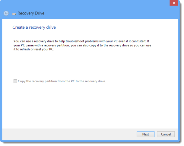 Create recovery drive 610x484