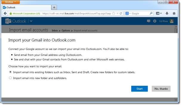 Outlook.com import tool for Gmail 610x357