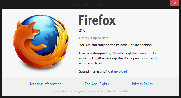 firefox 21 about