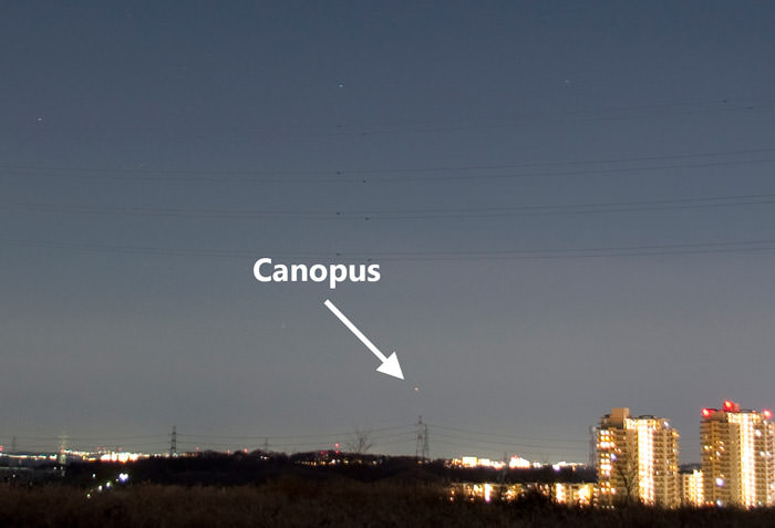 Canopus seen from Tokyo