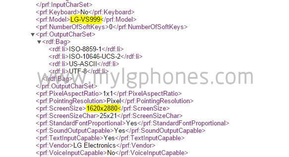 Verizon LG G4 lg-vs999 Leaked Document 3K Display