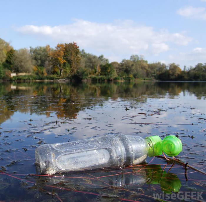plastic-bottle-floating-in-a-lake