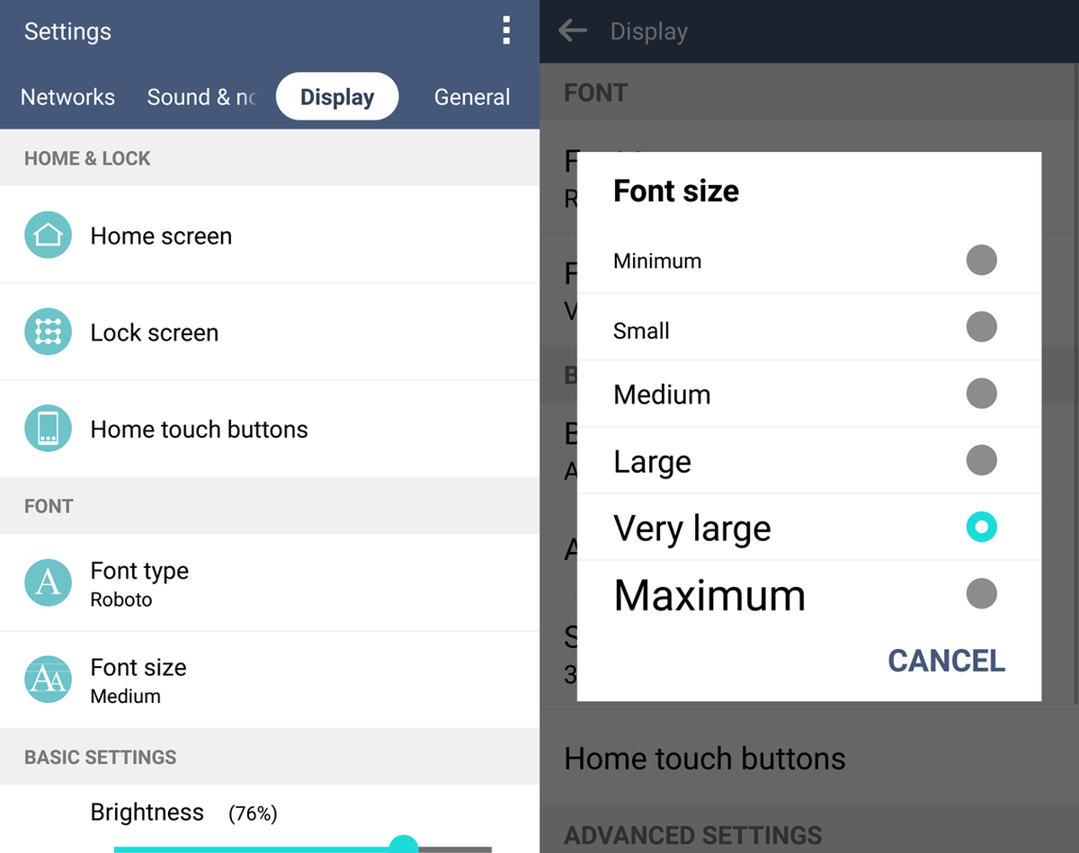 lg g4 easyhome font size